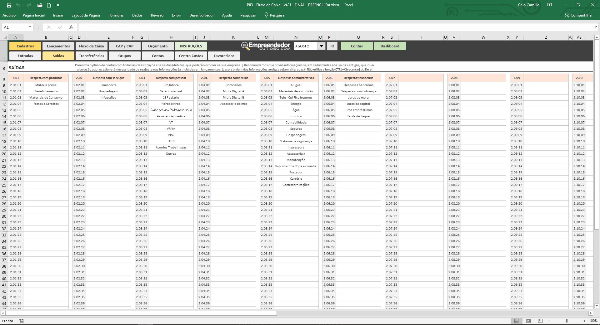 Planilha de fluxo de caixa - Configuração de Plano de contas e classificação financeira