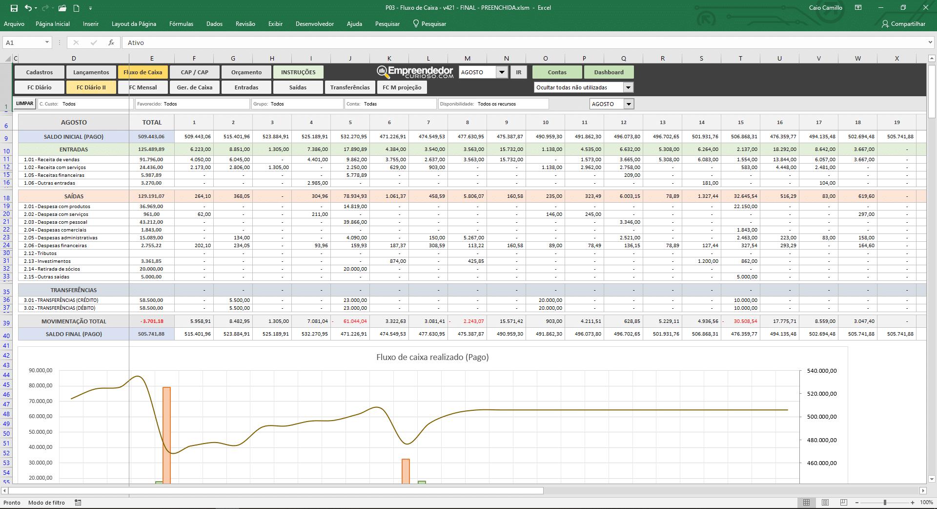 planilha de fluxo de caixa, controle financeiro - Fluxo diário