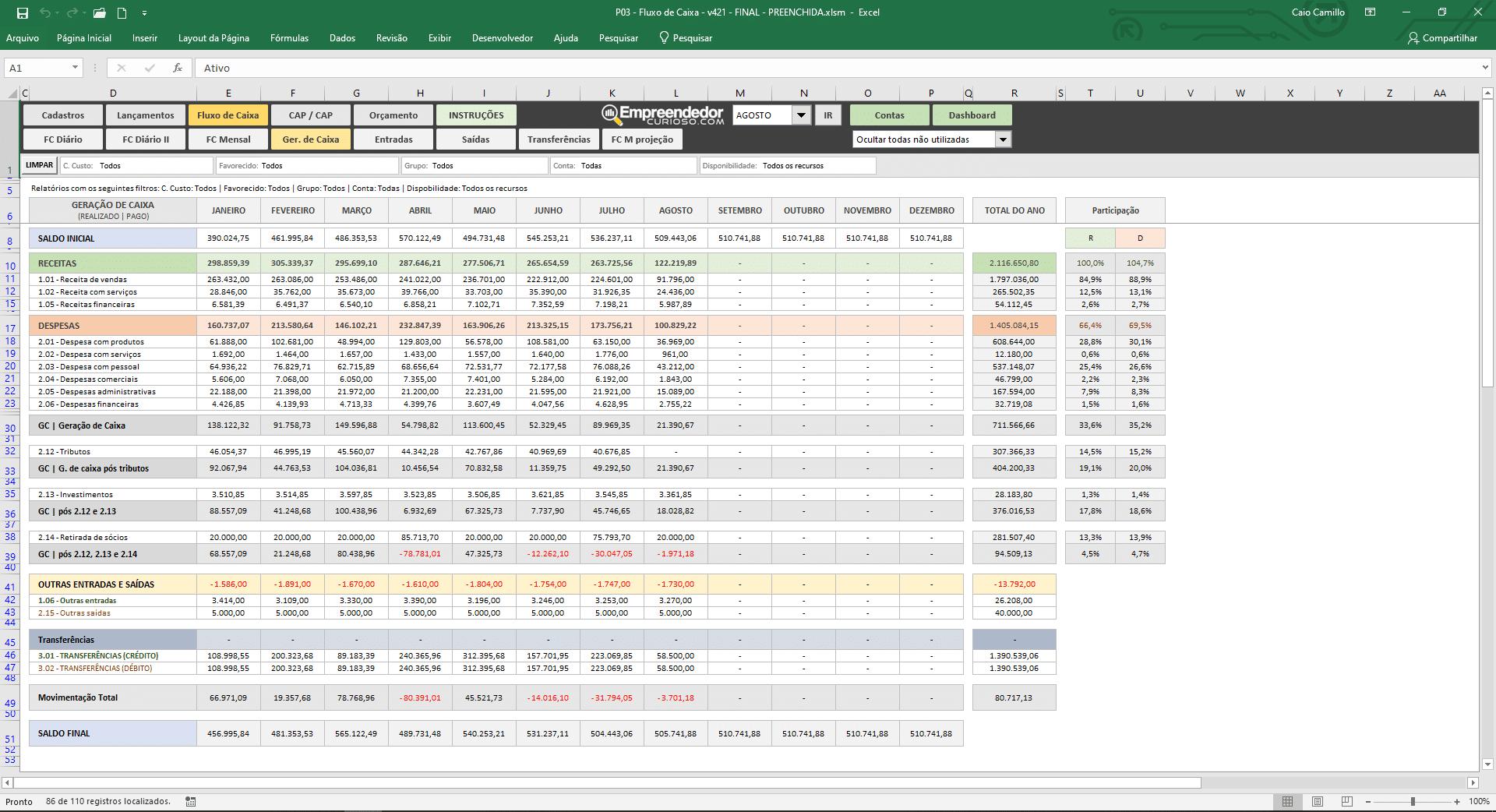 planilha de fluxo de caixa, controle financeiro - Fluxo mensal