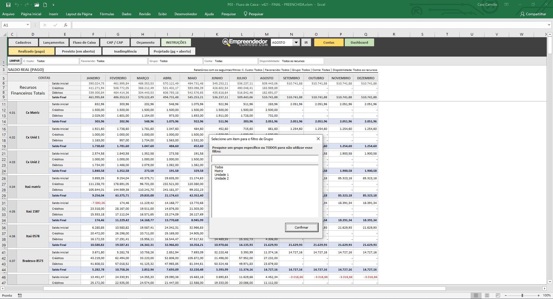 Planilha de fluxo de caixa - Controle financeiro - Saldo em conta