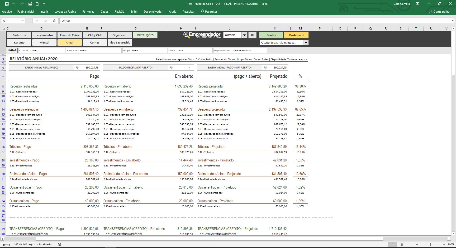 Planilha de fluxo de caixa - Controle financeiro - Dashboard financeiro