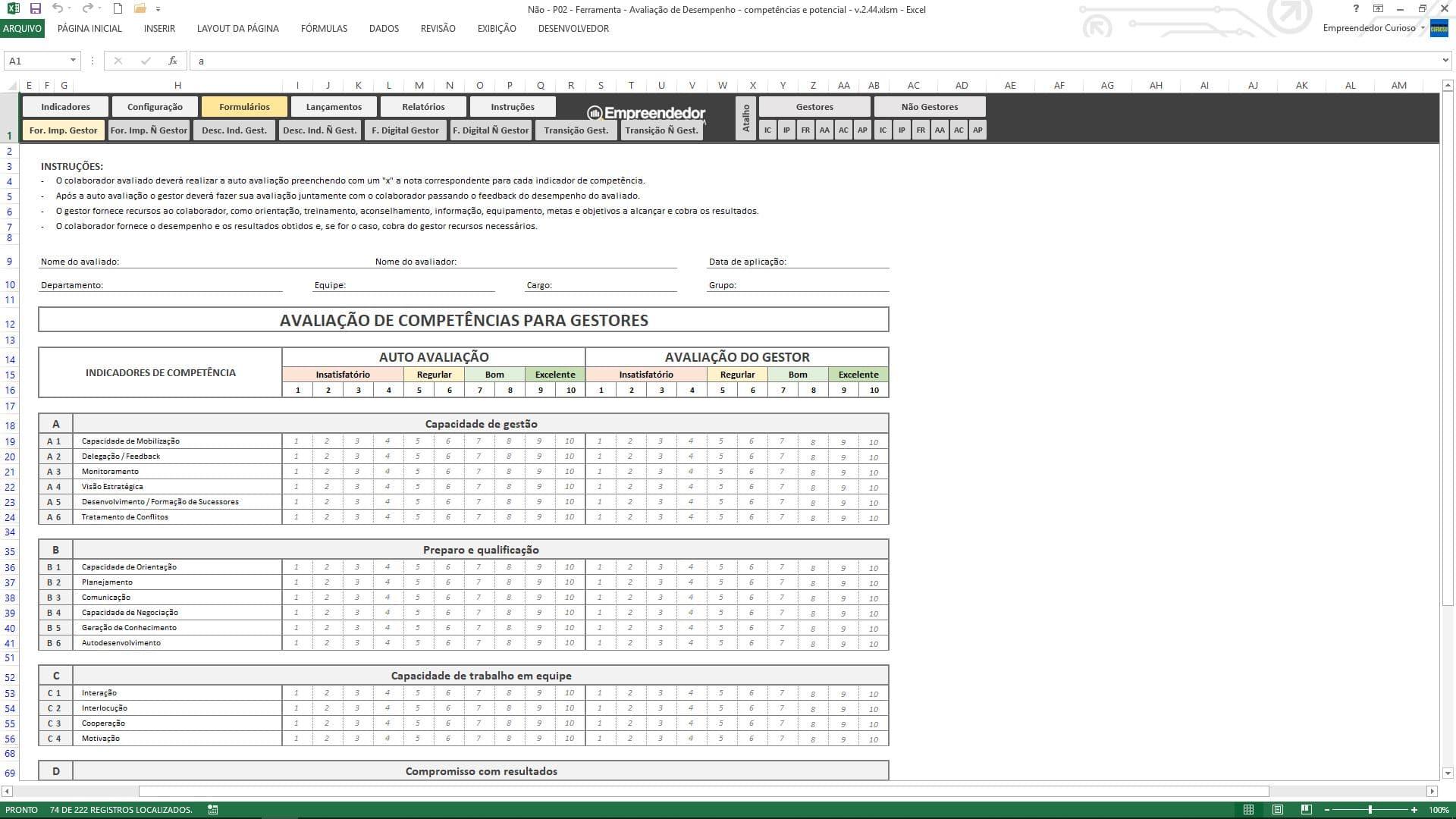 Planilha de avaliação de desempenho de funcionário - Formulário de Avaliação de Desempenho