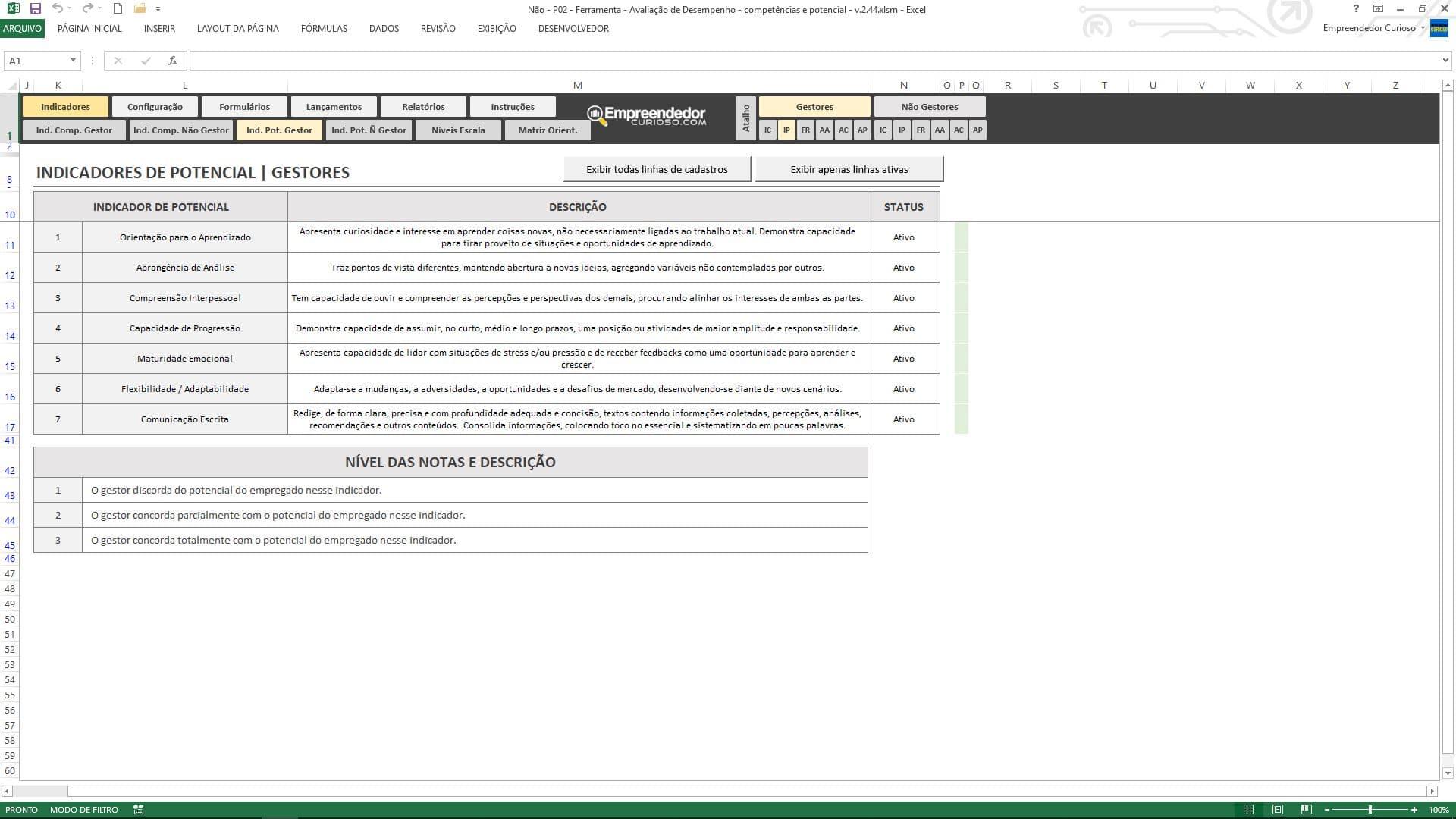 Planilha de avaliação de desempenho de funcionário - Indicadores de Potencial