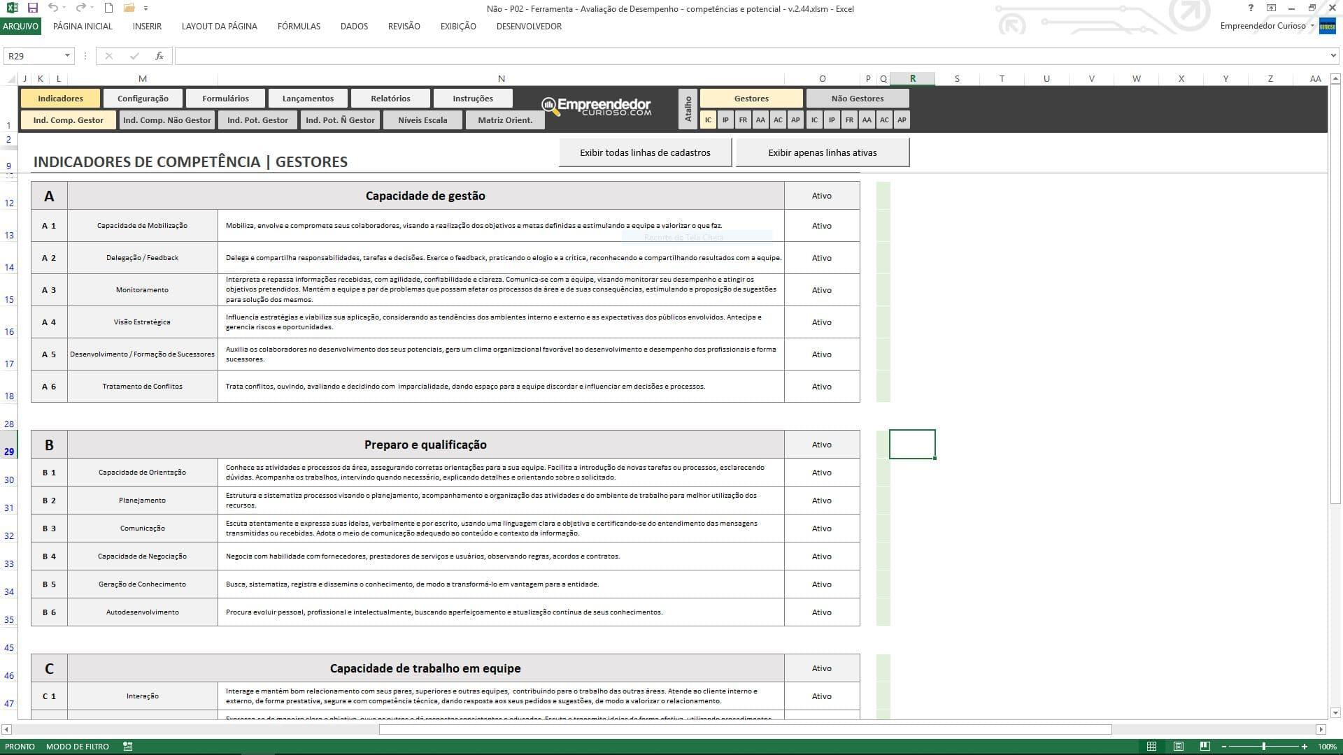 Planilha de avaliação de desempenho de funcionário - Indicadores de Competências para Gestores