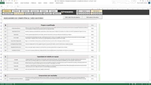 Indicadores de Competências para Não gestores – Planilha de avaliação de desempenho de funcionário