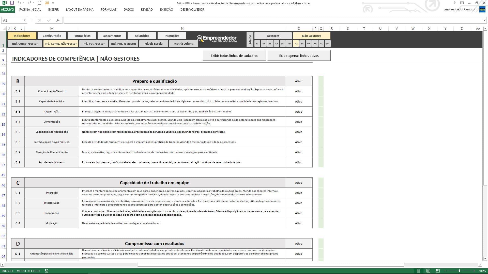 Planilha de avaliação de desempenho de funcionário - Indicadores de Competências para Não gestores