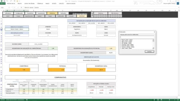 Relatório individual de desempenho do colaborador – Planilha de avaliação de desempenho de funcionário