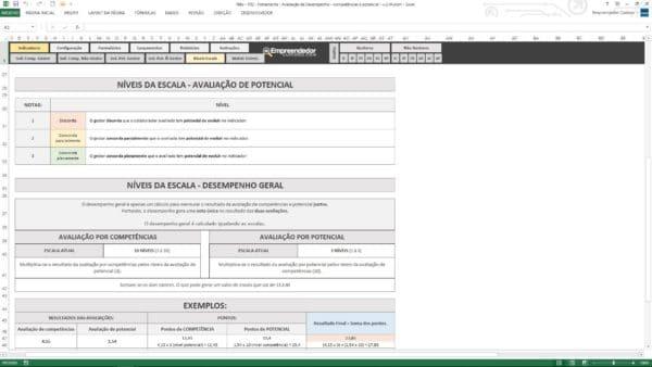 Nível de escala de avaliação por potencial – Planilha de avaliação de desempenho de funcionário