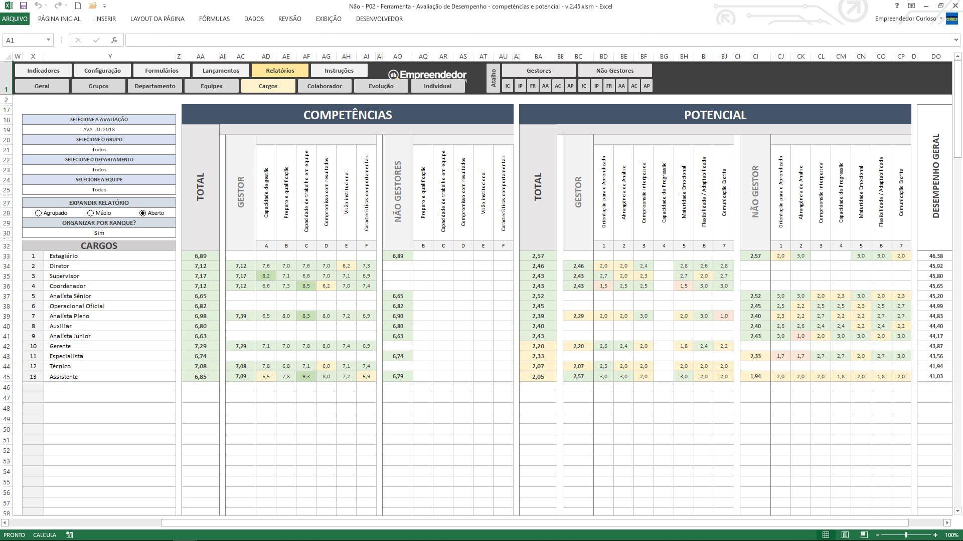 Planilha de avaliação de desempenho de funcionário - Relatórios da Estrutura de Cargos