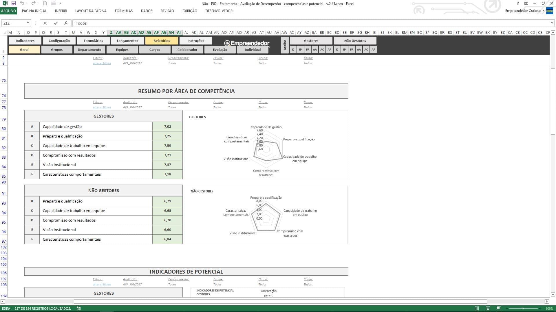 Planilha de avaliação de desempenho de funcionário - Resumo da Áreas de Competências