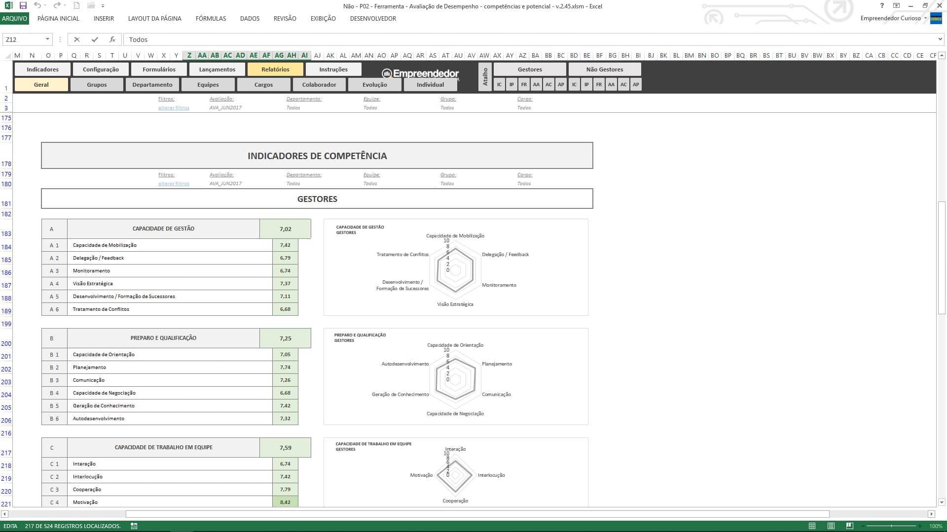 Planilha de avaliação de desempenho de funcionário - Indicadores de Competências - Relatório Geral