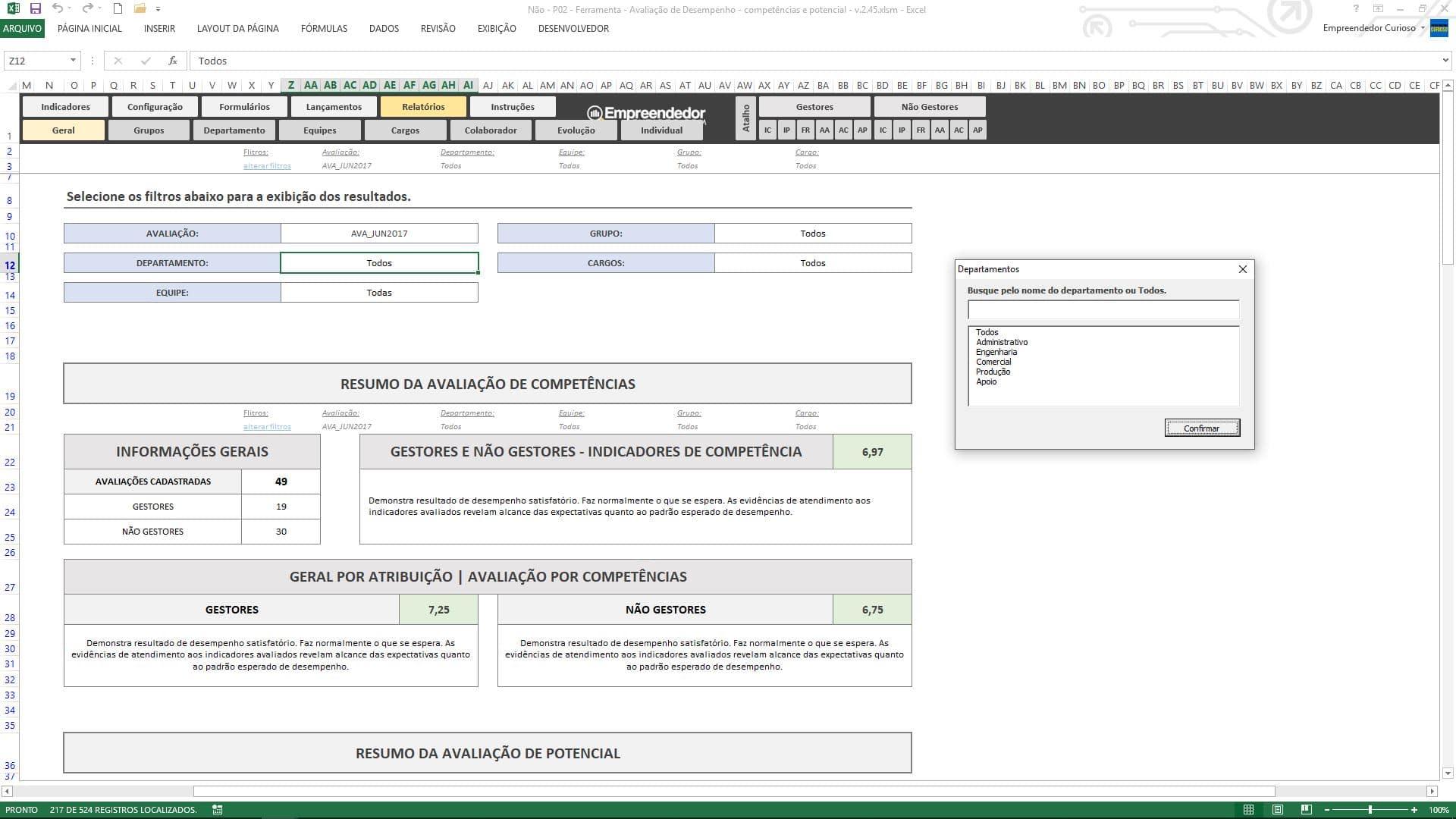 Planilha de avaliação de desempenho de funcionário - Relatório Geral de Desempenho da Empresa