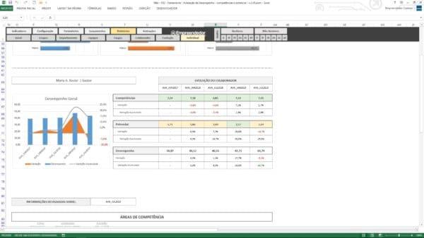 Evolução Individual do Colaborador – Planilha de avaliação de desempenho de funcionário