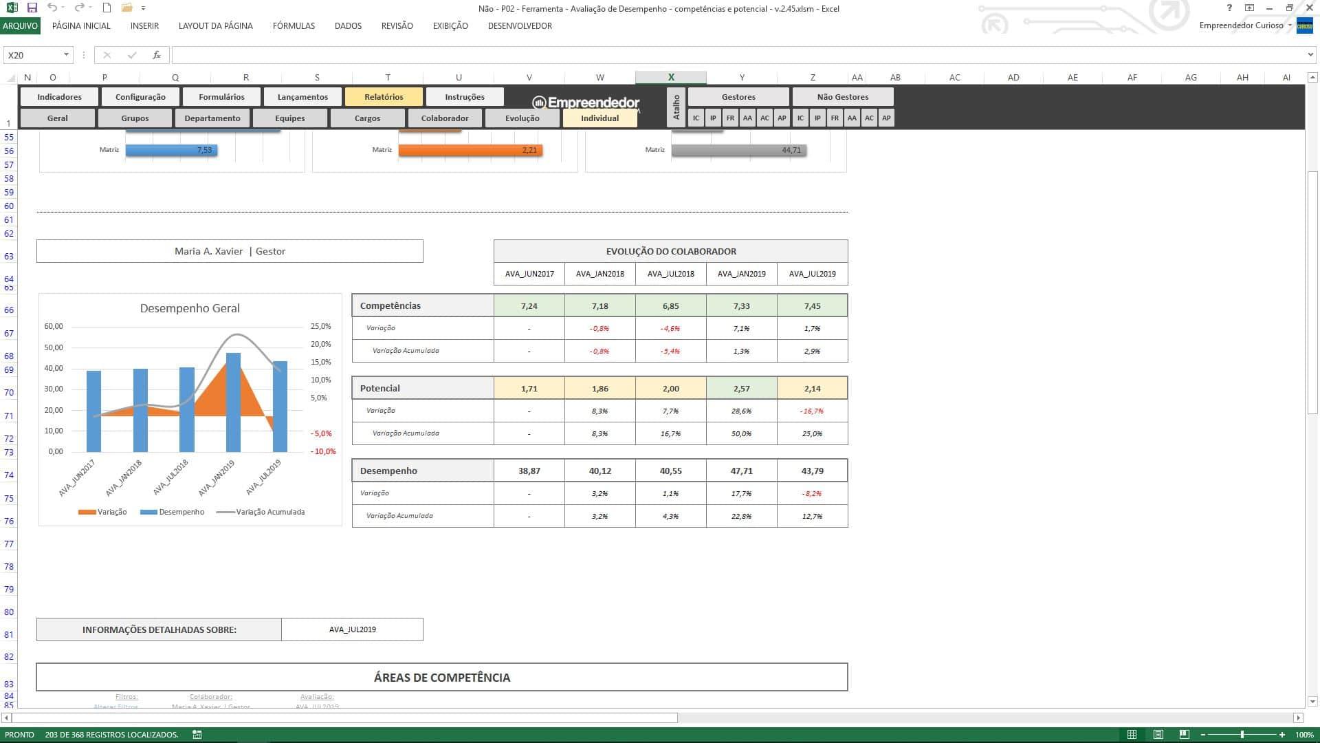 Planilha de avaliação de desempenho de funcionário - Evolução Individual do Colaborador