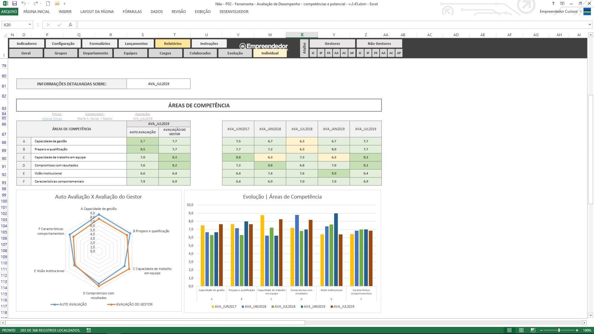 Planilha de avaliação de desempenho de funcionário - Relatório Individual - Áreas de Competências