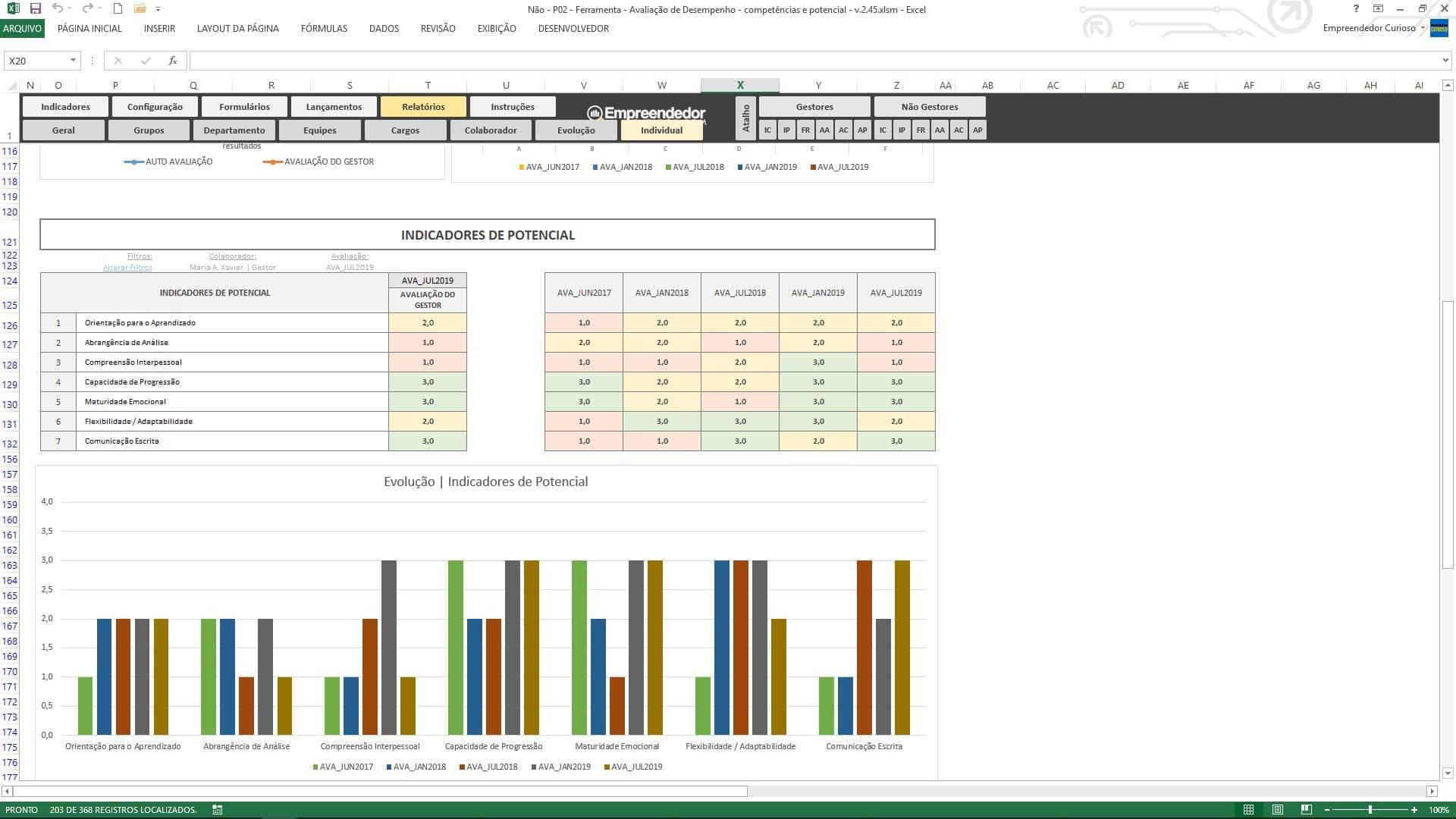 Planilha de avaliação de desempenho de funcionário - Relatório Individual - Indicadores de Potencial