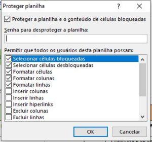 Permissão de edição da planilha - bloquear células Excel